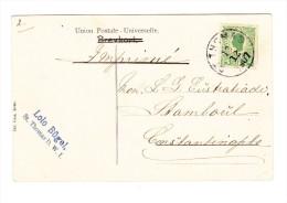 1910 Dänisch Westindien AK Von St Thomas Nach Constantinopel Frankiert Mit 5b. Grün 1905 - Danemark (Antilles)