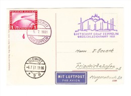 Zeppelin Oberschlesienfahrt 1931 Bord Und Sonderbestätigungsstempel - AK Gleiwitz 5.7.31 Auf AK - Poste Aérienne