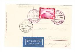 Zeppelin D-Fahrt LZ127 1931  - St. Hannover 14.6.31 -  Auf AK Blick Aus Der Passagierkabine - Poste Aérienne