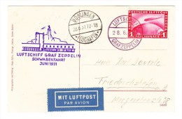 1931 Schwabenfahrt LZ127 1931 Bordpostzeppelinkarte - AK Böblingen 28.6.31 Auf AK Blick Aus Der Passagierkabine - Poste Aérienne