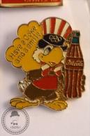 Coca Cola Olympic Games Mascot - Sam The Eagle - Have A Coke And A Smile (Yellow Colour) - Pin Badge  - #PLS - Coca-Cola