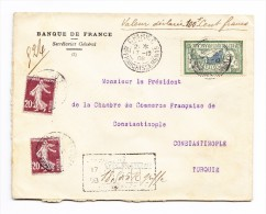 1906 -Bank-Wert-Siegel-Brief Von Paris Nach Constantinople Mit Ankunft Stempel - Lettres & Documents