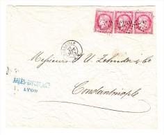 Brief Von Paris Nach Constantinopel Mit Mi.# 80 C. X3 Mit Ankunft-Stempel - 1871-1875 Cérès