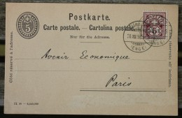 Carte Postale Postkarte Affranchie Pour Paris - 1882-1906 Coat Of Arms, Standing Helvetia & UPU