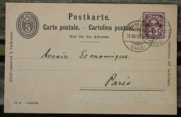 Carte Postale Postkarte Affranchie Pour Paris - 1882-1906 Armoiries, Helvetia Debout & UPU