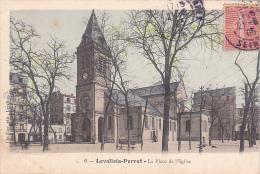 23533 LEVALLOIS PERRET Place De L' Eglise -ed 6 L Huillier -colorisée - Levallois Perret