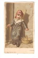 Carte 12,5 / 7 Cm   Dessin Petite Fille Avec Panier & Hotte, Tenant De La Paille ( ? ) à La Main  ( 26 Juillet 1882 ) - Enfants