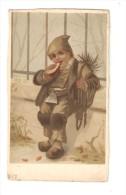 Carte 12,5 / 7 Cm   Dessin D'un Petit Garçon En Ramoneur Mangeant Un Morceau De Pain - Bognard - - Enfants