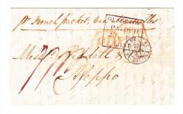 1851 - Vorausbezahlter Ganzbrief Ab Glasgow Nach Aleppo Syrien Mit Verschiedene Stempel - Poststempel - Freistempel