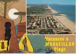CPSM MARSEILLAN 34 PLAGE VACANCES A MARSEILLAN PLAGE TENTE CAMPING VUE AERIENNE 2 EME CHOIX - Marseillan