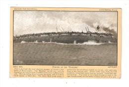 """CPA : Sinking Of The """" Bluecher"""" : Bateau Coulé + Soldats Tentant De Se Sauver + Légende Explicative - Guerre 1914-18"""
