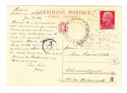 """1942 75 C. Ganzsache  Mit Selten """"STICNA/LUBIANA"""" Datumstempel Mit Kreistempel Italienisch Censor Daneben - 9. Besetzung 2. WK (Italien)"""