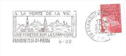 CACHET OBLITERATION FLAMME EMA  FRANQUEVILLE ST PIERRE BELLE FRAPPE ENVELOPPE 22X11 - Marcophilie (Lettres)