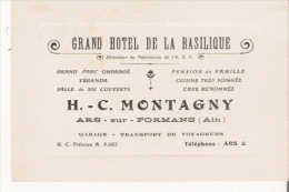 CARTE DE VISITE ANCIENNE GRAND HOTEL DE LA BASILIQUE ARS SUR  FROMANS (AIN) - Visiting Cards