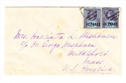 1889 - Brief Von Stamboul  Nach Middleboro USA  Frankiert Mit 2 X SG 4 - Verschieden Stempeln - Levant Britannique