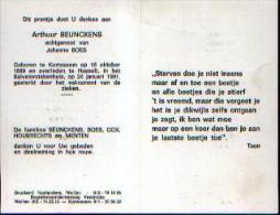 Souvenir Mortuaire BEUNCKENS, Arthur (1899-1991) Geboren Te KORTESSEM Overleden Te HASSELT - Devotion Images