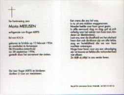Souvenir Mortuaire MEEUSEN, Maria (1934-1994) Echtg. AERTS, R. Geboren Te SCHILDE Overleden Te ANTWERPEN - Images Religieuses