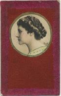 Carte Velours Pailletée Portrait Profil Art Nouveau Reutlinger Actrice - Cartes Postales
