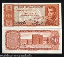 1962 Bolivia 50 Pesos Banknote UNC 1 Piece - Bolivia