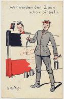 CP Allemande Roi Albert Belgique Brussel Antwerpen Namur Wir Werden Den Zaun Schon Pinseln - Patriotiques