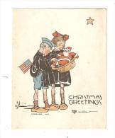 Carte 8,5/11cm : Christmas Gretting : Garçon Avec Drapeau Américain & Une Fillette Tenant 1 Père Noël  Anita Park ???? - Guerre 1914-18