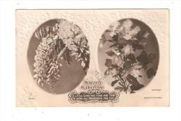 CPA : Birthday Grettings : 2 Bouquets De Fleurs ( Papier Gaufré Brillant ) [ Adressée à Un Soldat Guerre 14/18] - Anniversaire