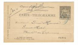 ENTIER  POSTAL  /  CARTE - TELEGRAMME  30 Ct. NOIR Type CHAPLAIN   ( Rare Cachet BLEU , à Oscar HAUSER )