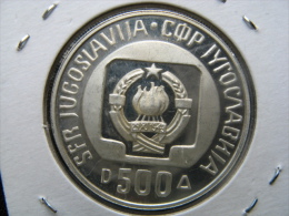 Commemorative Coin On The Occasion Of Ski Jumping Championship Planica, 500 Dinara 1985(13 G Silber, PP) - Yugoslavia