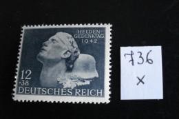 Allemagne III° Reich - Année 1942 - Journée Des Héros - Y.T. 736 - Neuf (*) Mint (MLH) Postfrisch (*) - Unused Stamps