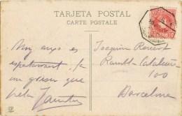 7776. Postal NURIA  (Gerona) 1908. AMBULANTE Ferrocarril - 1889-1931 Royaume: Alphonse XIII