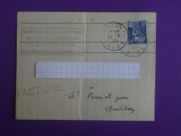 Lettre Facture 1951 Quillan  St Ferréol Bouchou & Camredon Gandon 12f Bleu. V.photos. - Marcophilie (Lettres)