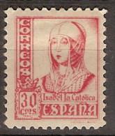 España 0823A * Isabel. Pie Fournier-Burgos. Dentado 10 3/4. 1937. Charnela. 2 Sellos - 1931-50 Ongebruikt