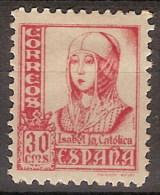España 0823A * Isabel. Pie Fournier-Burgos. Dentado 10 3/4. 1937. Charnela - 1931-50 Nuovi