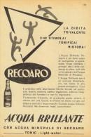 # ACQUA BRILLANTE TONIC WATER RECOARO 1950s Advert Pubblicità Publicitè Reklame Food Drink Mineral Water Eau Agua Wasser - Manifesti