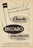 # CHINOTTO - TONIC WATER RECOARO 1950s Advert Pubblicità Publicitè Reklame Food Drink Bibita Bebida Getrank Boisson - Manifesti