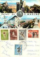 San Marino Postcard Posted 1964 Stamp Olympics - San Marino