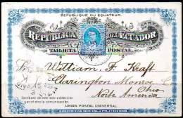 ECUADOR 1895 - ENTIRE POSTAL CARD Of 3 Centavos From Guayaquil To Ohio - Ecuador