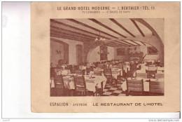 CARTON PUBLICITAIRE -  LE GRAND HOTEL MODERNE - ESPALION  - Le Restaurant De L´Hôtel - Plaques Publicitaires