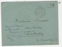 Cachet Hexagonal CROISEUR DUGUAY-TROUIN 5/9/47 SUR  ENVELOPPE  ReexpedieeEN FRANCHISE  Ttb - Naval Post