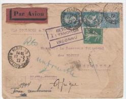 Enveloppe Affr PAR  AVION Via TOULOUSE Pour Le RUANDA-URUNDI 17/2/27  Taxee Griffe RETOUR   Et Mention Taxe Remboursee - 1921-1960: Modern Period