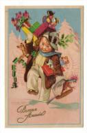 BONNE  ANNEE   ( Enfant-garçon Portant Ses Jouets : Cage Et Perroquet, Train, Poupée, Cheval De Bois... ) /  Par  MAUZAN - Mauzan, L.A.