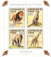 tch12111a Chad 2012 Wild Animal Lion Elephant Giraffe Perf s/s