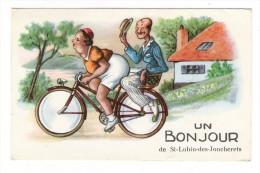 EURE-ET-LOIR  /  UN  BONJOUR  De  SAINT-LUBIN-des-JONCHERETS  ( Grosse Femme, Homme Maigre Sur Vélo ) - France