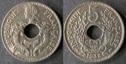 INDOCHINE  5 Cent 1938  FRENCH INDOCHINA  ENVOI GRATUIT - Cambodge