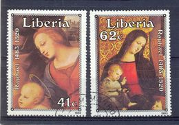 Liberia 1983, Madonna, Paintings Raphael, Minr 1285-1286, Vfu. Cv 2,50 Euro - Liberia
