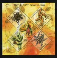 2009  Spices Of India  5v Sovenir Sheet # 62594  Inde  Indien - Food