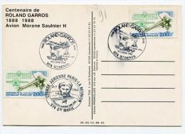 REUNION Cachets Temporaires De SAINT DENIS Et SAINTE MARIE Sur CP De 1988 Centenaire De ROLAND GARROS - Storia Postale