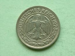 1928 A - 50 Reichspfennig - KM 49 ( Uncleaned - For Grade, Please See Photo ) ! - 50 Rentenpfennig & 50 Reichspfennig