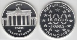 ** 100 FRANCS 1993 - 15 ECUS 1993 PORTE DE BRANDEBOURG - ARGENT - SILVER - BELLE EPREUVE - NEUVE **** ACHAT IMMEDIAT !!! - N. 100 Francs