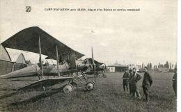 N°37674 -cpa Camp Aviation Près Dijon, Départ D'un Biplan En Service Commandé- - Aerodromes